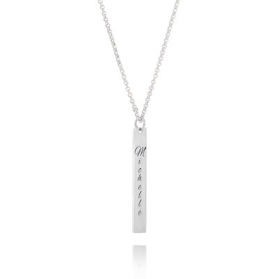 Custom Sterling Silver Engraving/Engraved Bar Necklace - Birthday Gifts Mother's Day Gifts