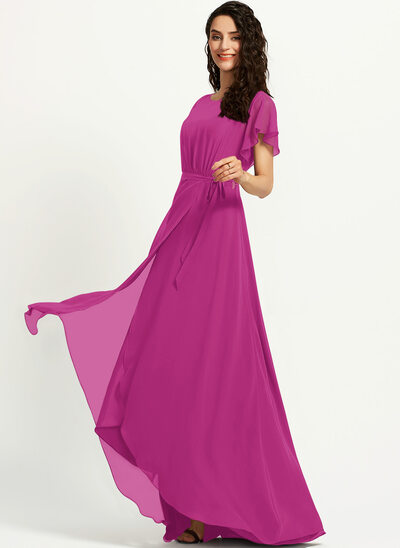 A-Line Scoop Neck Asymmetrical Cocktail Dress With Ruffle