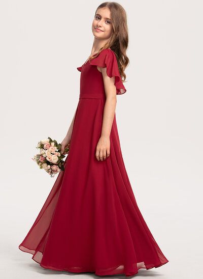 A-Line V-neck Floor-Length Chiffon Junior Bridesmaid Dress With Cascading Ruffles