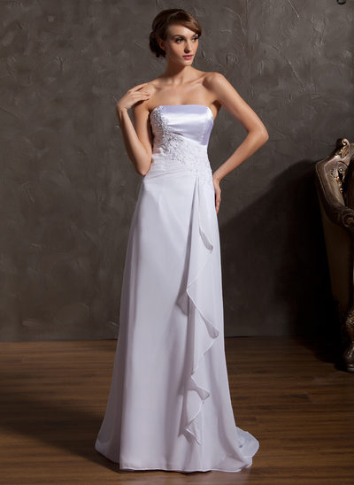 A-Line/Princess Strapless Sweep Train Chiffon Wedding Dress With Appliques Lace Cascading Ruffles