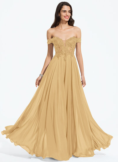 A-Line Off-the-Shoulder Floor-Length Chiffon Prom Dresses With Beading Sequins