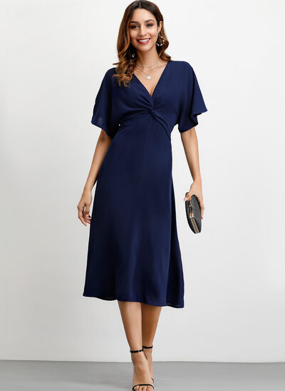 A-Line V-neck Ankle-Length Polyester Cocktail Dress