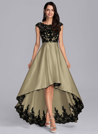 A-Line Scoop Neck Asymmetrical Satin Evening Dress