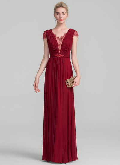 A-Line/Princess V-neck Floor-Length Jersey Evening Dress With Ruffle Beading Sequins