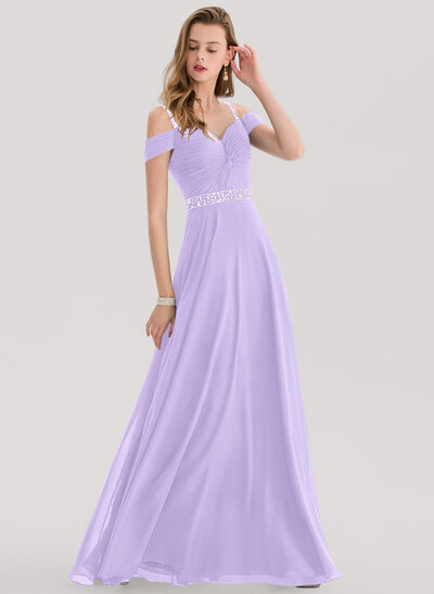 A-Line Sweetheart Floor-Length Chiffon Prom Dresses With Beading Sequins