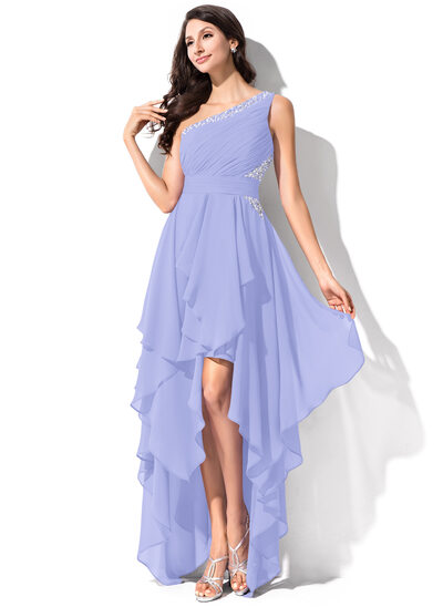 A-Line One-Shoulder Asymmetrical Chiffon Homecoming Dress