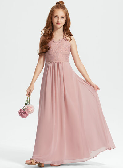 A-Line V-neck Floor-Length Chiffon Lace Junior Bridesmaid Dress
