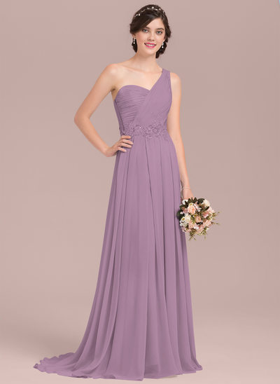 A-Line/Princess One-Shoulder Sweep Train Chiffon Bridesmaid Dress With Appliques Lace Sequins