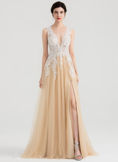 A-Line/Princess V-neck Sweep Train Tulle Evening Dress With Sequins Split Front