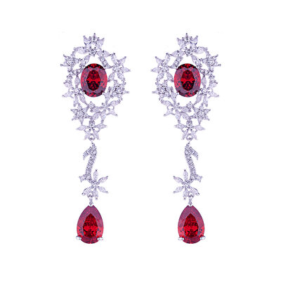 Ladies' Elegant Copper/Platinum Plated With Oval Cubic Zirconia Earrings For Mother/For Friends