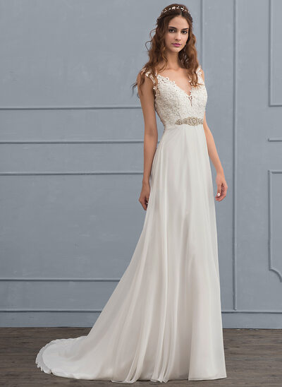 A Line Princess V Neck Court Train Chiffon Wedding Dress With Beading Sequins