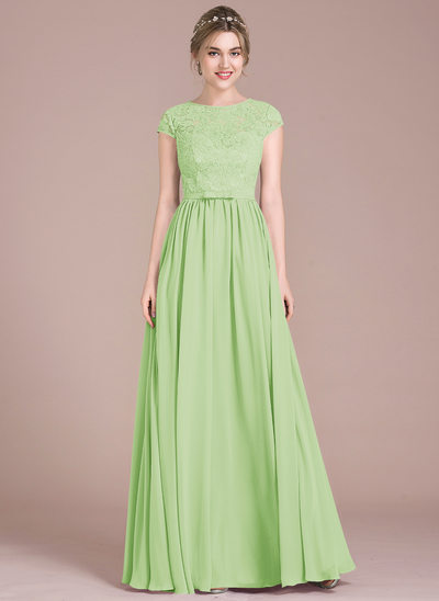 A-Line/Princess Scoop Neck Floor-Length Chiffon Lace Prom Dresses With Bow(s)