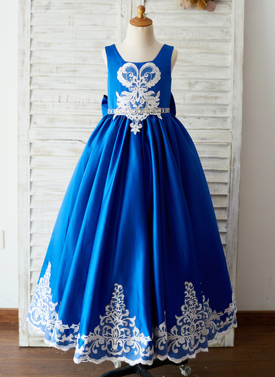 A-Line/Princess Floor-length Flower Girl Dress - Satin/Lace Sleeveless Square Neckline With Beading/Appliques/Bow(s)