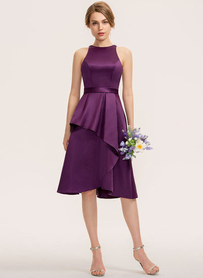 A-Line Scoop Neck Asymmetrical Satin Bridesmaid Dress With Cascading Ruffles