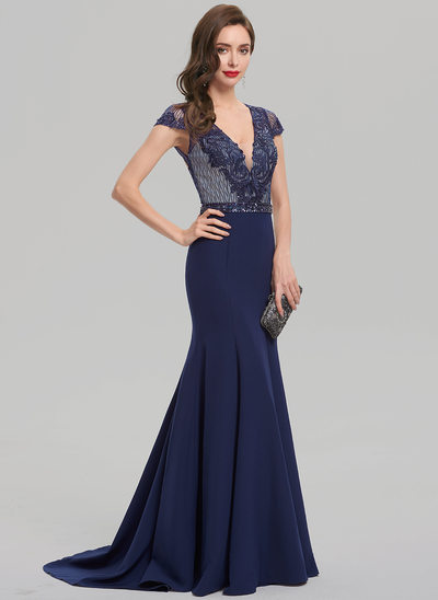 Trumpet/Mermaid V-neck Sweep Train Satin Evening Dress With Beading Sequins