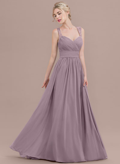 A-Line/Princess Sweetheart Sweep Train Chiffon Bridesmaid Dress With Ruffle Lace