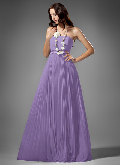 Empire Strapless Floor-Length Chiffon Bridesmaid Dress With Pleated