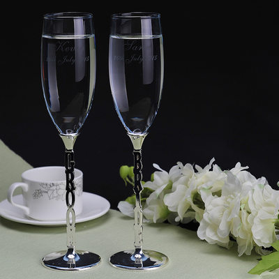 Groom Gifts - Personalized Elegant Glass Champagne Flutes (Set of 2)