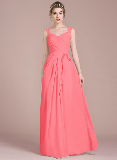A-Line/Princess Sweetheart Floor-Length Chiffon Prom Dresses With Ruffle Lace Beading Sequins Bow(s)