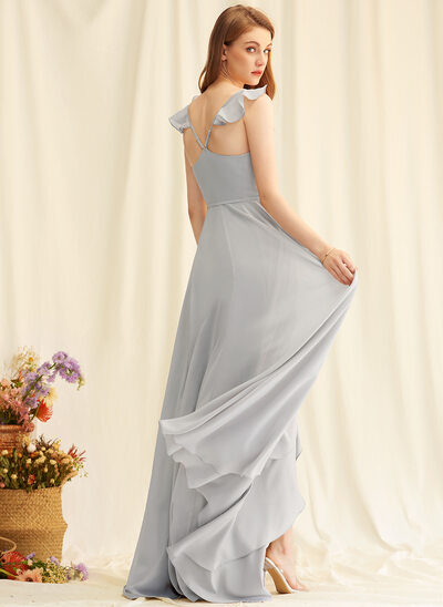 A-Line V-neck Asymmetrical Chiffon Bridesmaid Dress With Split Front