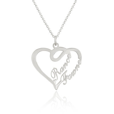 Custom Sterling Silver Overlapping Two Name Necklace Heart Necklace - Valentines Gifts