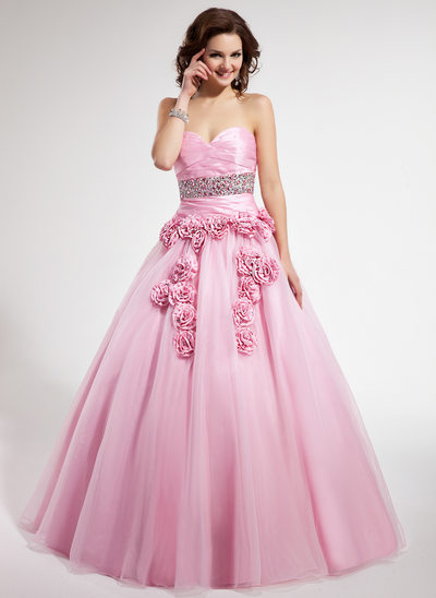 Ball-Gown Sweetheart Floor-Length Taffeta Tulle Quinceanera Dress With Ruffle Beading Flower(s)