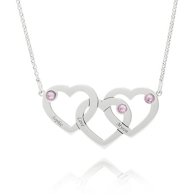 Custom Sterling Silver Heart Engraving/Engraved Overlapping Three Name Necklace Heart Necklace With Birthstone - Valentines Gifts