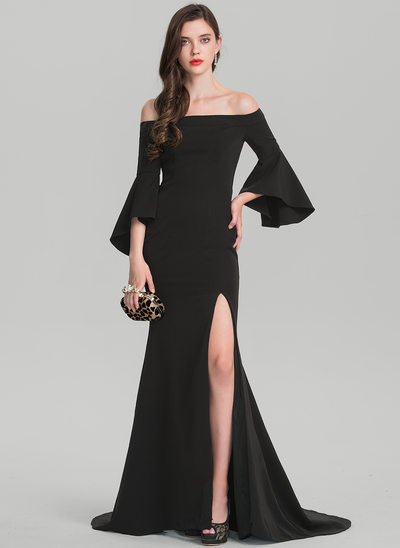 Sheath/Column Off-the-Shoulder Sweep Train Stretch Crepe Evening Dress With Split Front
