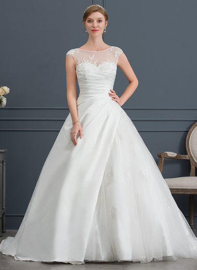Ball-Gown Scoop Neck Court Train Satin Tulle Wedding Dress With Lace