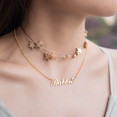 Custom 18k Gold Plated Silver Star 'Carrie' Style Name Necklace Choker Necklace With Birthstone (Set of 2) - Christmas Gifts