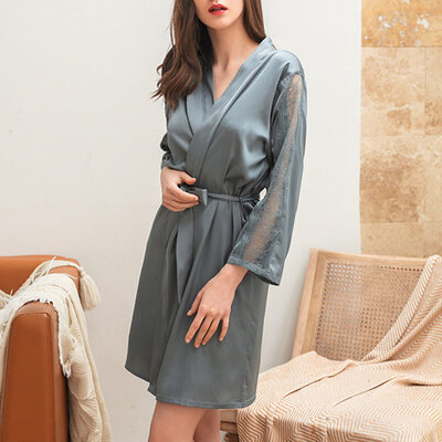 Feminine Girly Imitated Silk Sleepwear