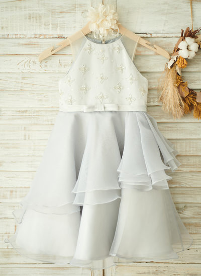 A-Line Knee-length Flower Girl Dress - Organza/Satin Sleeveless Scoop Neck With Beading/Bow(s)