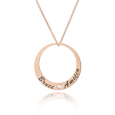 Custom 18k Rose Gold Plated Silver Engraving/Engraved Circle Two Name Necklace With Diamond