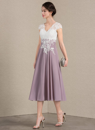 A Line Princess V Neck Tea Length Chiffon Lace Mother Of The Bride