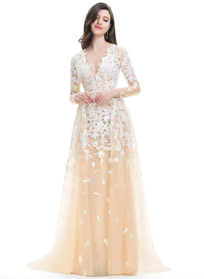 A-Line/Princess V-neck Sweep Train Tulle Prom Dresses With Cascading Ruffles