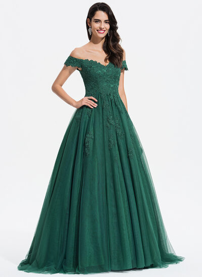 Ball-Gown Princess V-neck Sweep Train Tulle Prom Dresses With Lace 30d754c47