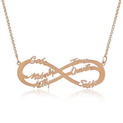Christmas Gifts For Her - Custom 18k Rose Gold Plated Silver Infinity Family Six Name Necklace Infinity Name Necklace With Kids Names
