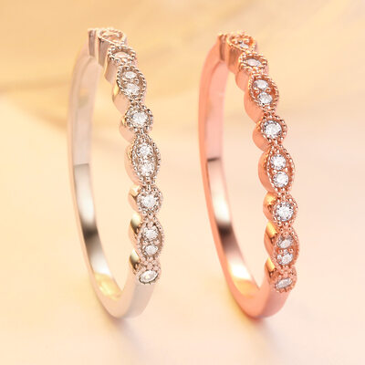 925 Sterling Silver With Round Cubic Zirconia Rings/Stackable Rings For Bridesmaid/For Friends