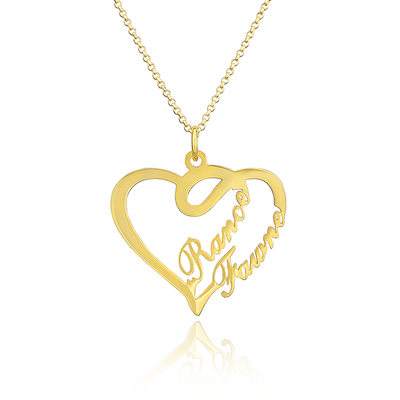 Custom 18k Gold Plated Silver Heart Two Name Necklace