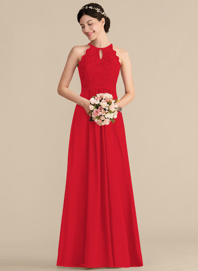 A-Line/Princess Scoop Neck Floor-Length Chiffon Lace Bridesmaid Dress