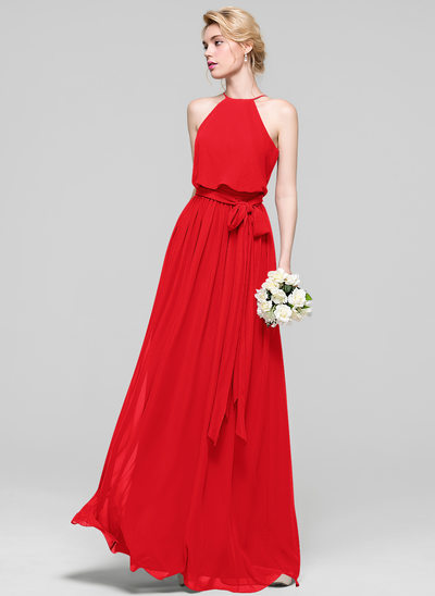 A-Line Scoop Neck Floor-Length Chiffon Prom Dresses With Bow(s)