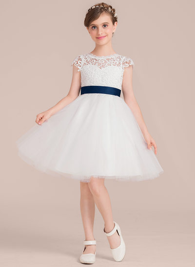 A-Line/Princess Knee-length Flower Girl Dress - Satin/Tulle/Lace Sleeveless Scoop Neck With Sash/Flower(s)