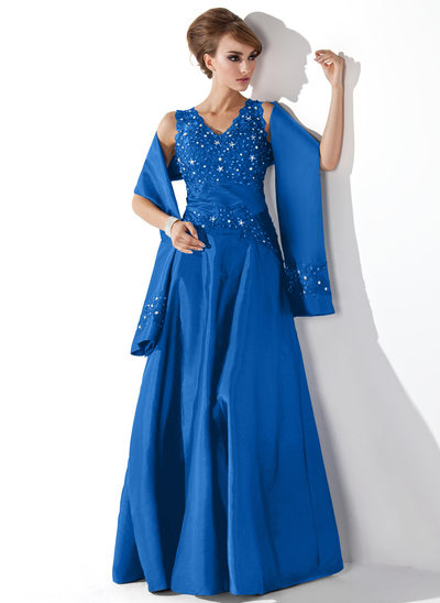 A-Line V-neck Floor-Length Taffeta Mother of the Bride Dress With Lace Beading Sequins