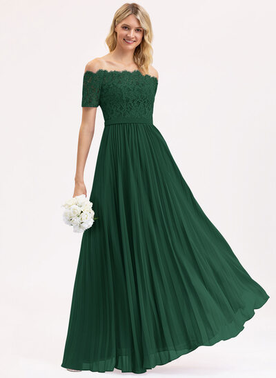 A-Line Off-the-Shoulder Floor-Length Chiffon Lace Bridesmaid Dress With Pleated