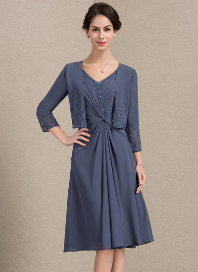 A-Line V-neck Knee-Length Chiffon Mother of the Bride Dress With Ruffle Beading Sequins