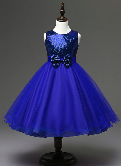 Ball-Gown/Princess/Empire Knee-length Flower Girl Dress - Sequined/Cotton Blends Sleeveless Scoop Neck With Bow(s)