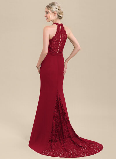 Trumpet/Mermaid High Neck Sweep Train Chiffon Lace Evening Dress