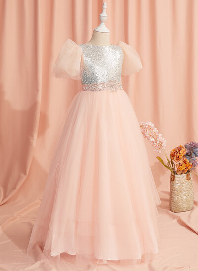 Ball-Gown/Princess Floor-length Flower Girl Dress - Tulle/Sequined Short Sleeves Scoop Neck With Beading/Sequins/Bow(s)