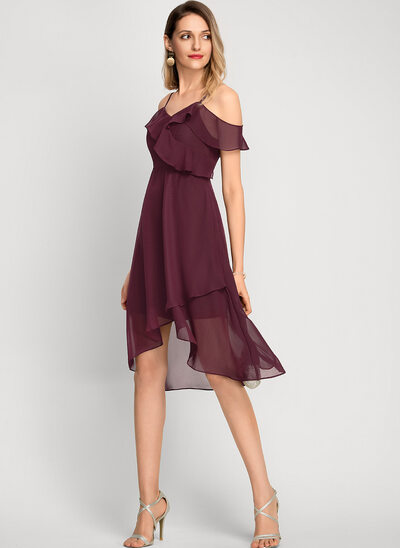 A-Formet Off-the-Shoulder Asymmetrisk Chiffong Cocktailkjole
