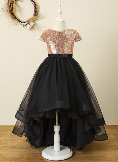 A-Line Asymmetrical Flower Girl Dress - Tulle/Sequined Sleeveless Scoop Neck With Bow(s)
